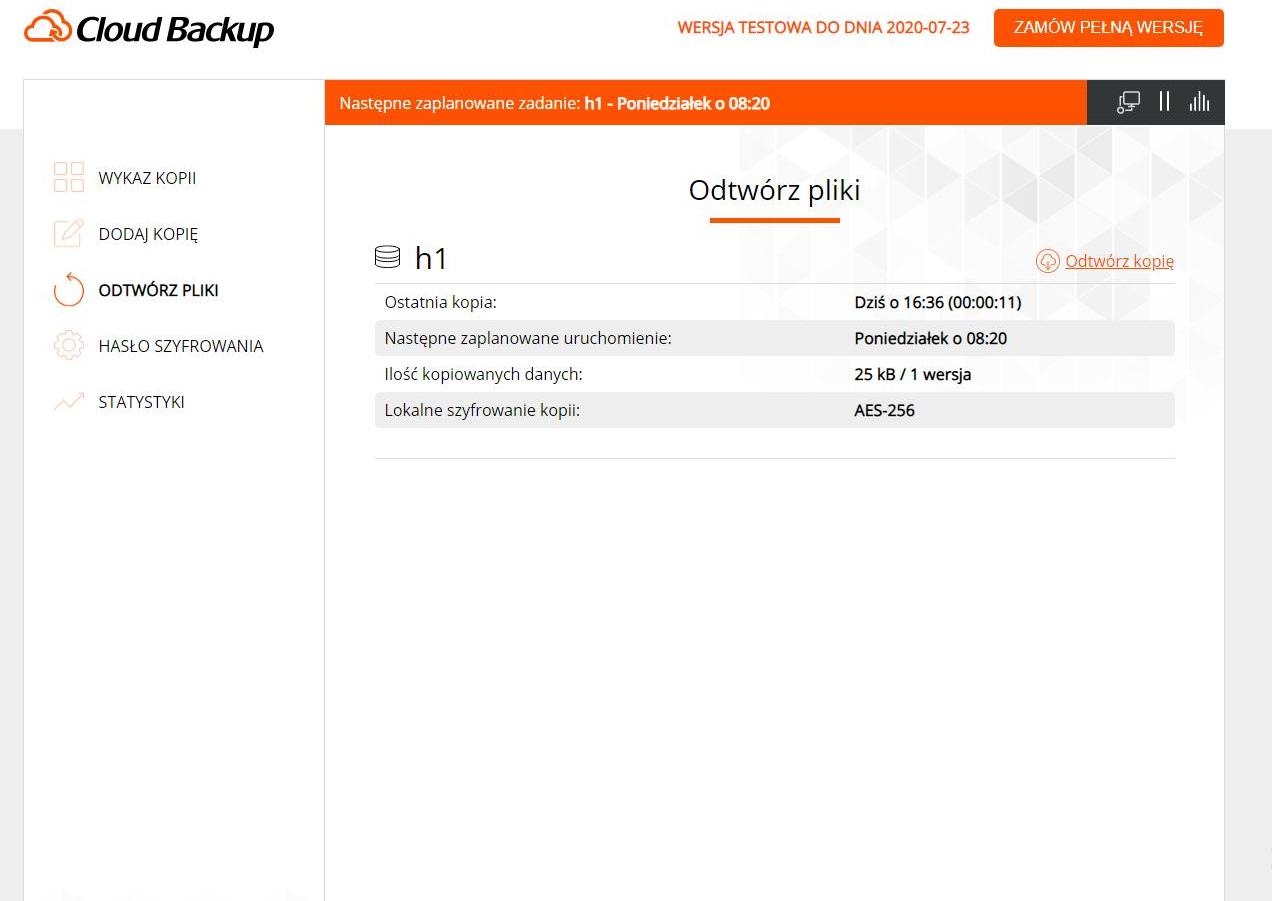 Nazwa.pl Cloud Backup - przywracanie plików
