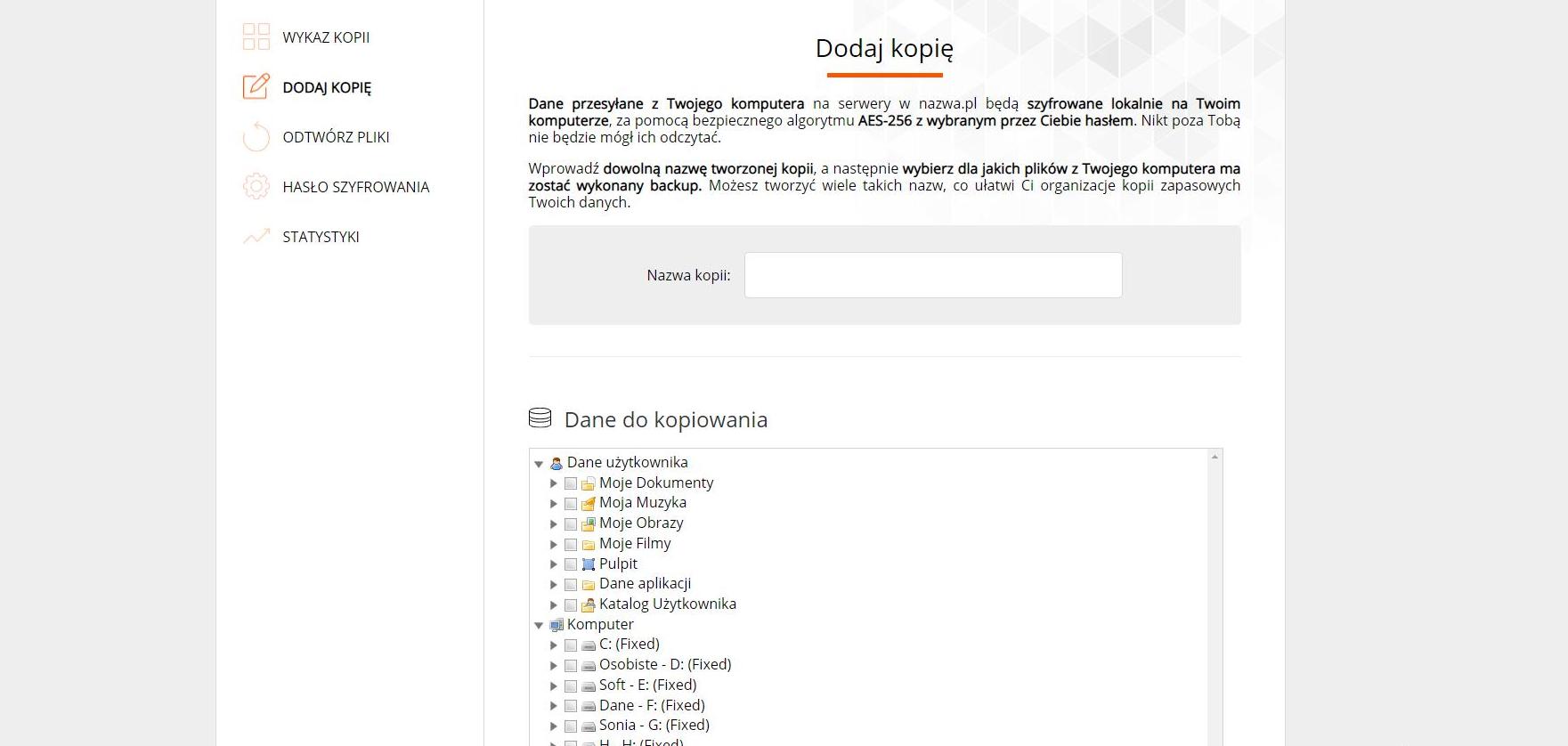 Interfejs Nazwa.pl Cloud Backup