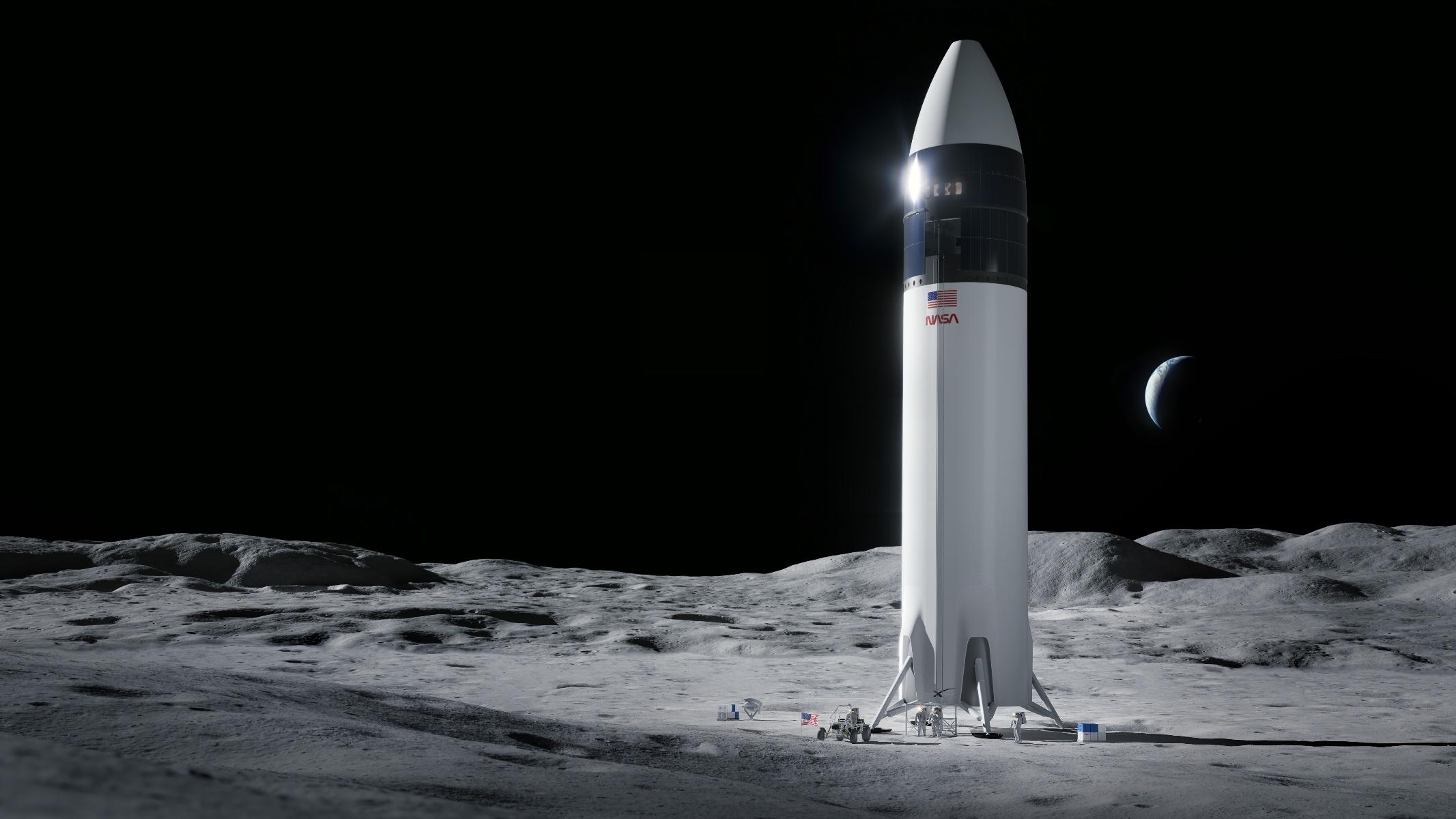 Wizualizacja statku SpaceX Starship na Księżycu